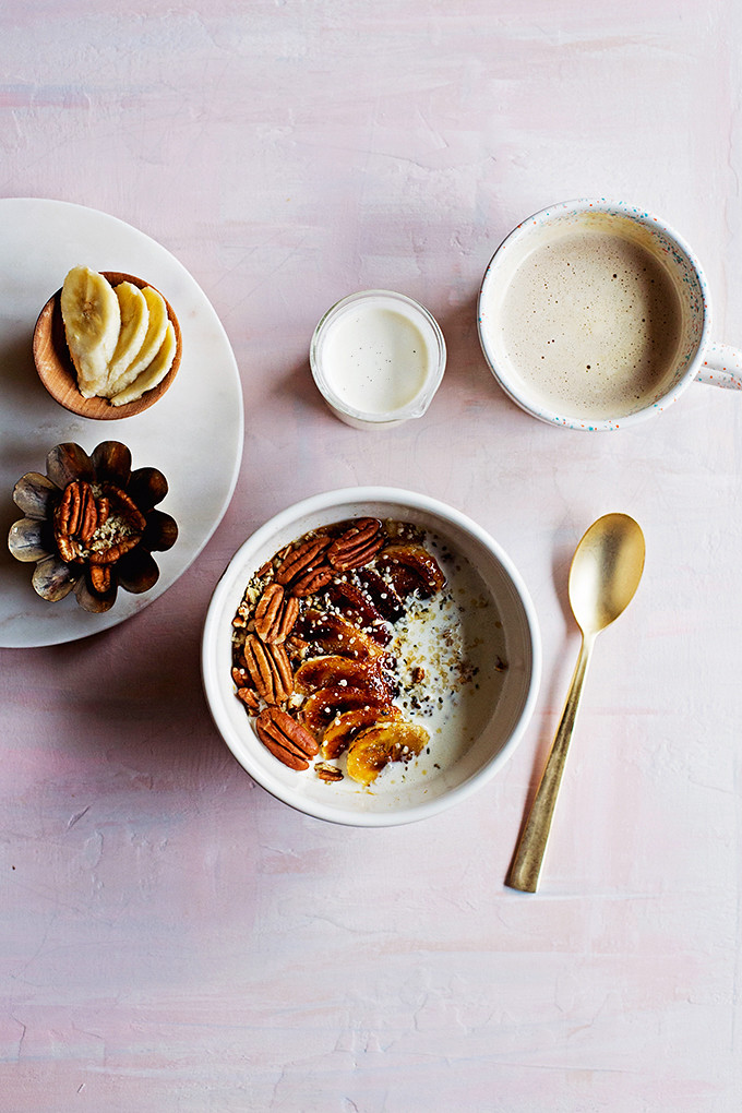 Rice Cooker Oats with Brûléed Bananas + Vanilla Bean Cream