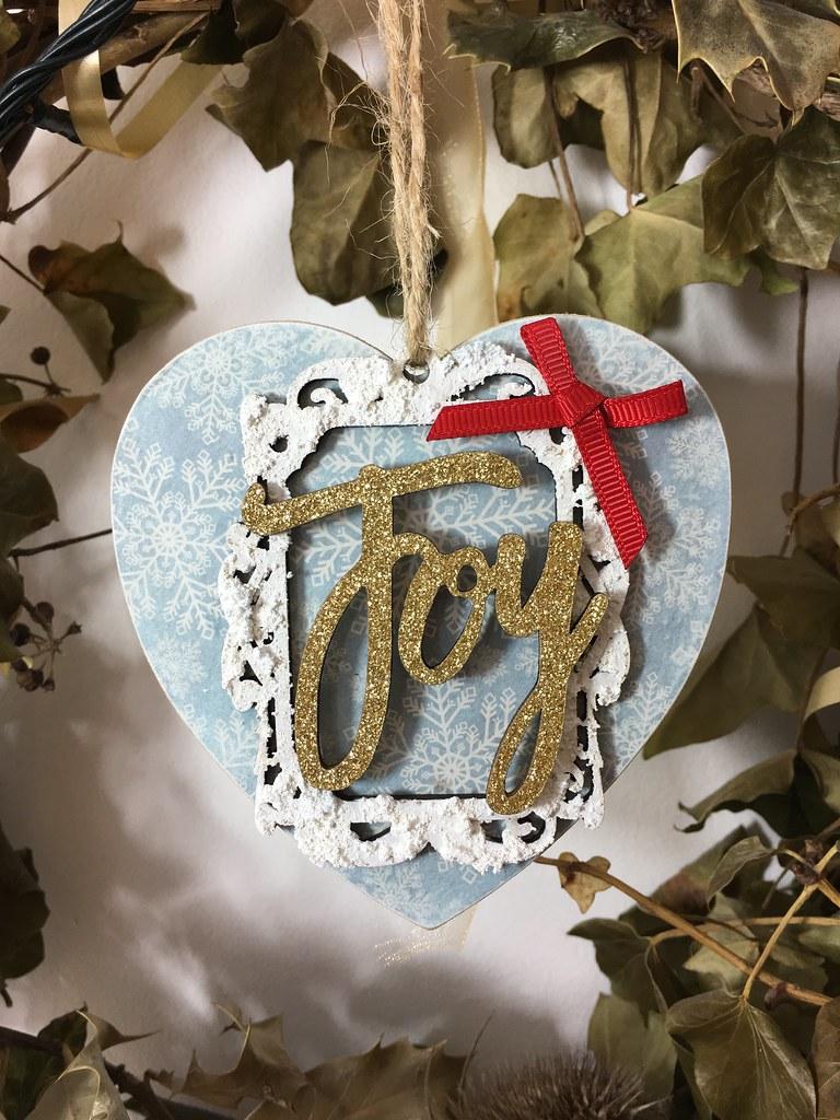 Handmade Christmas Decoration – Decoupaged Heart using Craft Consortium decoupage papers. Made by StickerKitten.