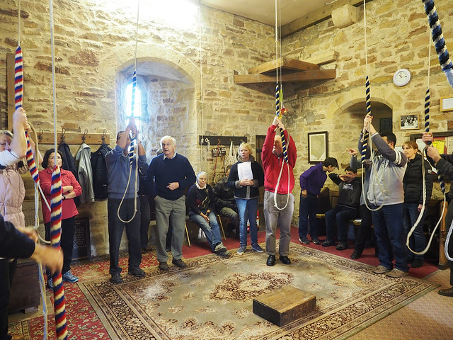 Good attendance in ringing room at Flookburgh for training course.