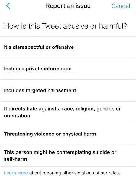 Twitter-harassment-report-form
