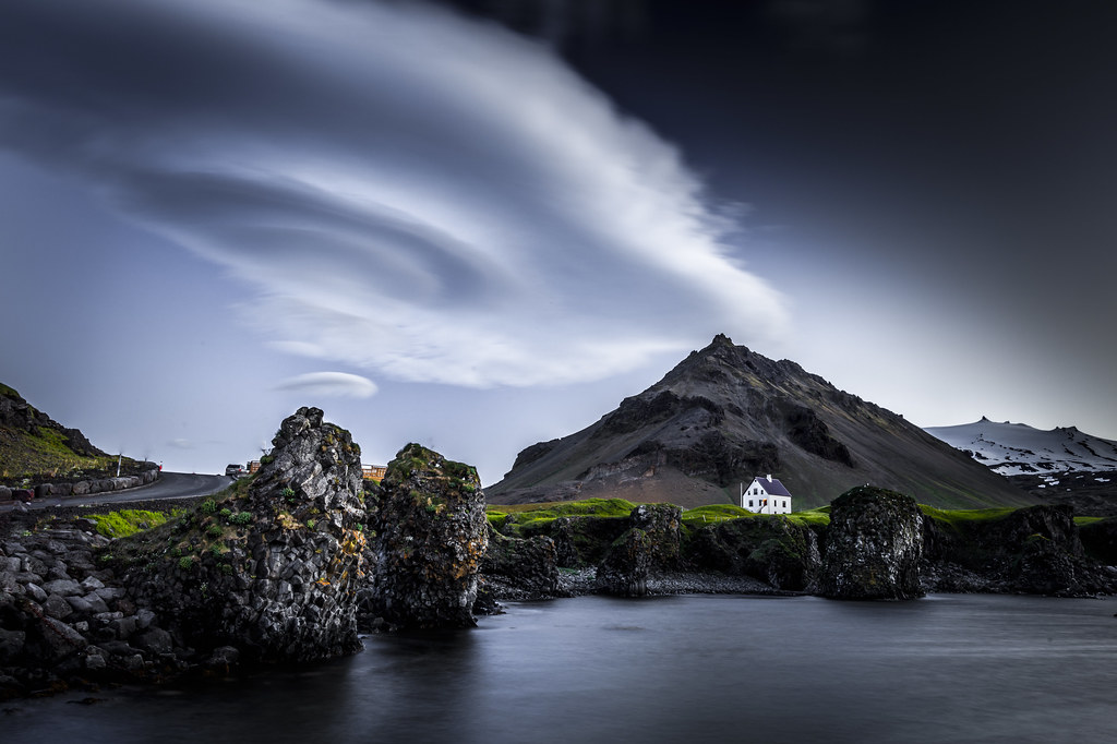 Arnastapi lonely house with atomic cloud in arnarstapi for Iceland lonely house
