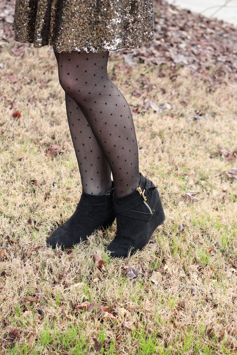 Tiny Polka Dot Tights, Gold Sparkly Skirt, and Black Wedge Boots from Target