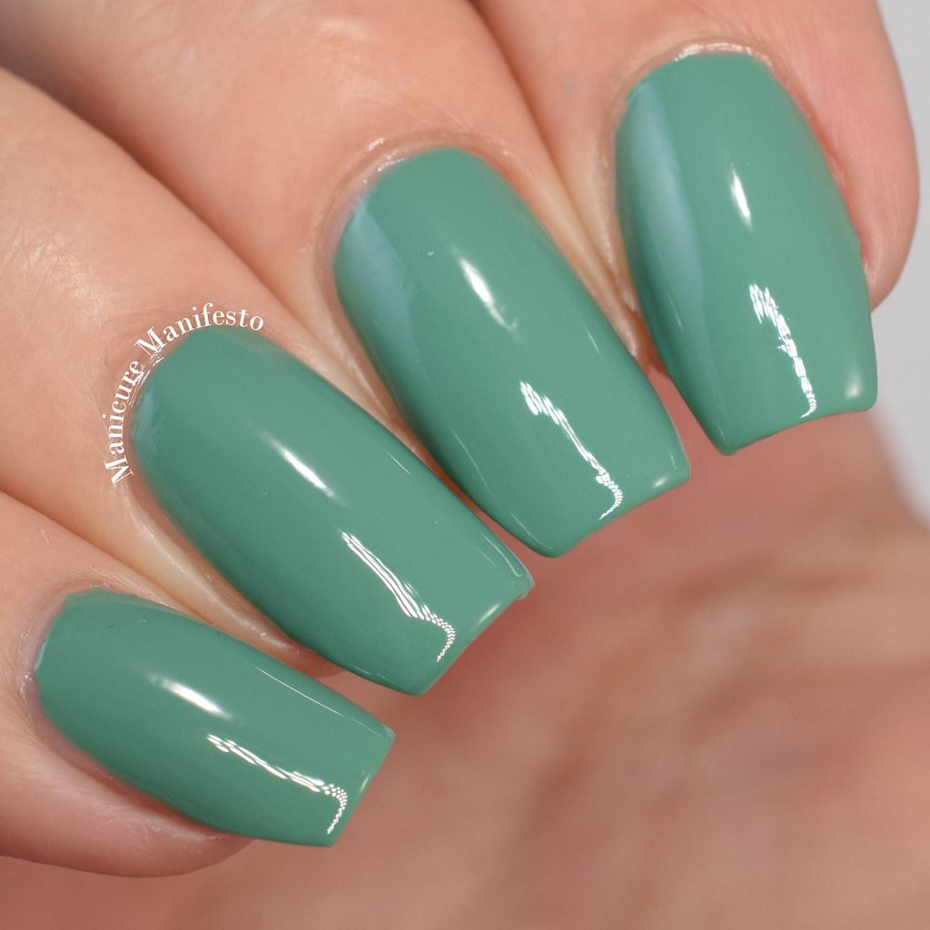Green creme nail polish