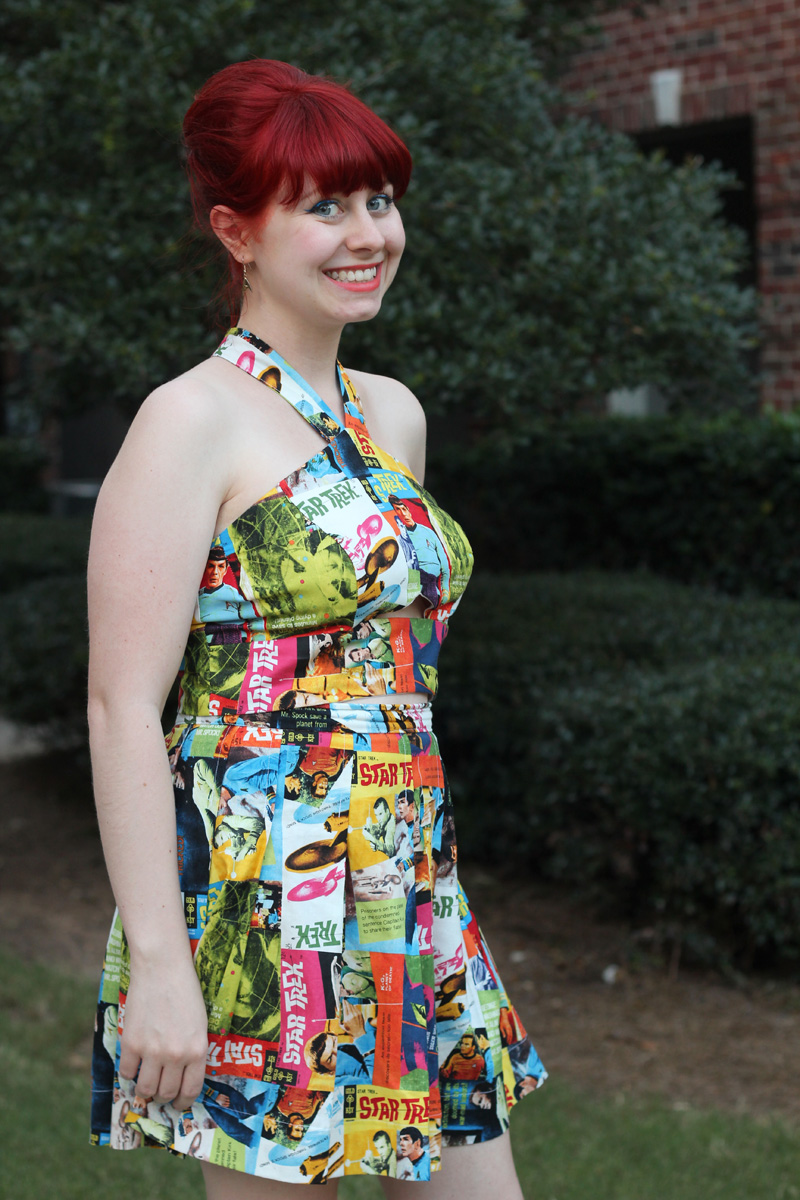 Red Bouffant and Star Trek Comic Print Halter Top and Pleated Skirt