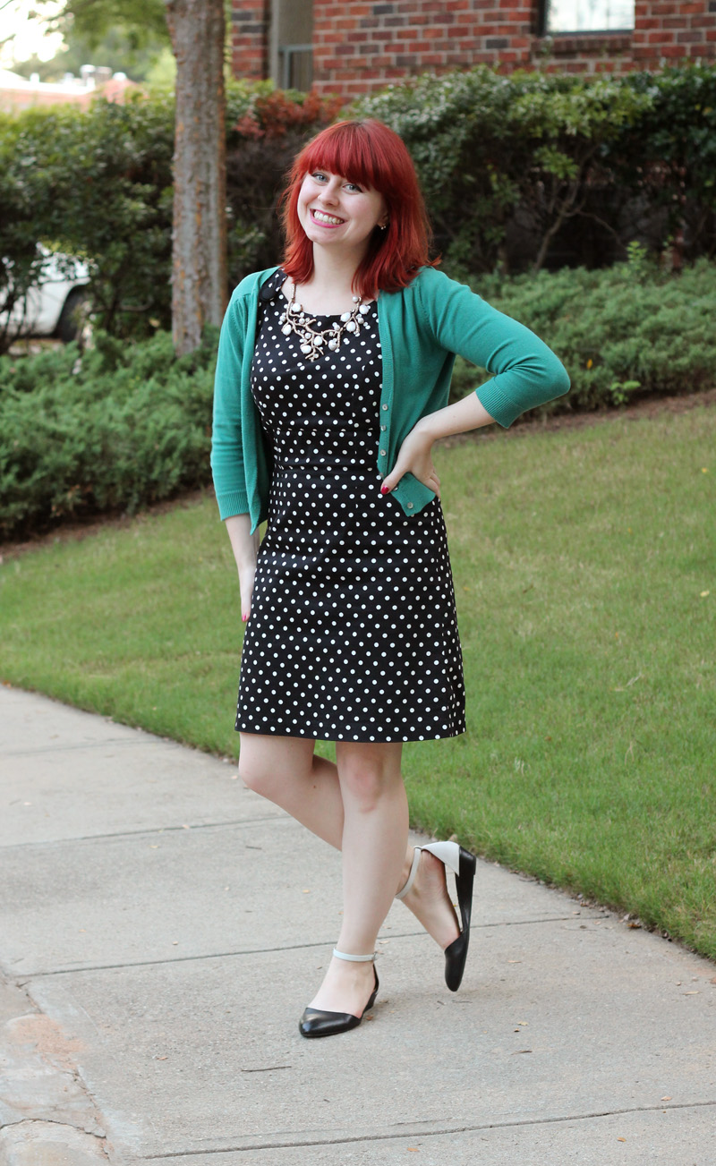 Polka Dot Forever 21 Shift Dress, Teal Delia's Cropped Cardigan, and Two Toned Flats