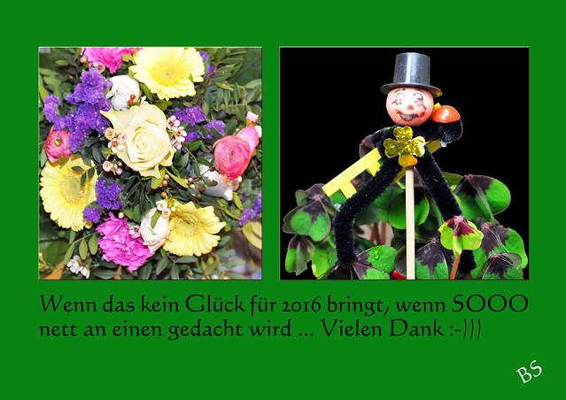 Blumen Blumenstrauß Glück Glücksklee Schornsteinfeger Foto Brigitte Stolle 2015