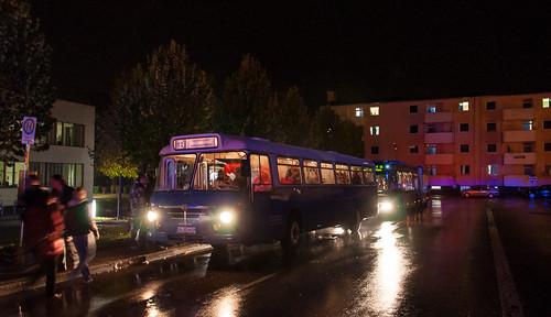 Auch ein Büssing-Bus vom Stadtverkehr Ingolstadt verkehrte auf dem MAN Shuttle. Hier wartet der Bus auf Fahrgäste in Karlsfeld/MAN.