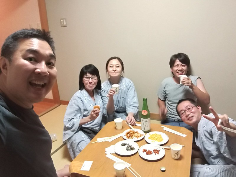 A little party in the room with rice wine and Kyushu's version of makgeolli rice wine and sake.