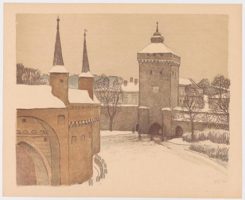 Barbakan de Cracovie dans un dessin du début 1900.
