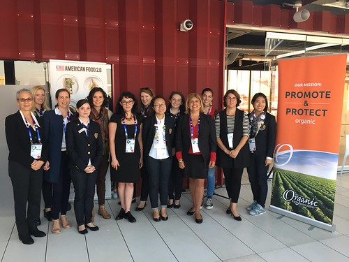 "AMS Administrator Anne Alonzo (first row, third from right) with panelists and Expo Ambassadors at the ""Women Leading the Organic Way"" panel at the USA Pavilion at the Expo Milano 2015"