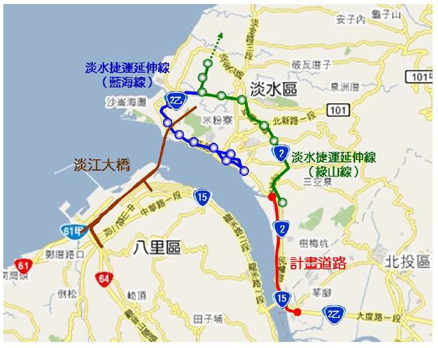 淡水地區交通建設示意圖。圖片來源:新北市範疇界定書面資料。