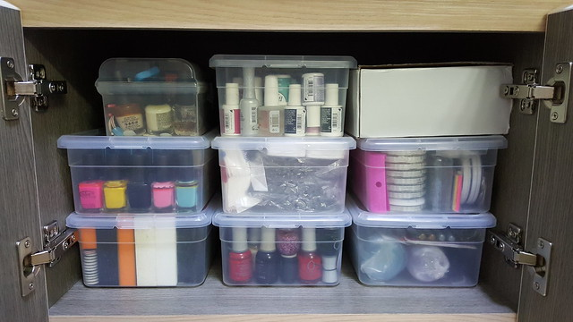 Daiso Shoe Storage Boxes holding all my nail polishes and accessories.