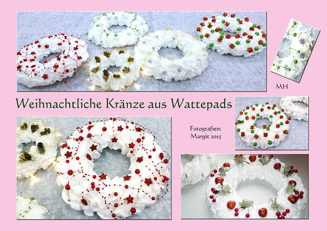 Weihnachtskranz Advenzkranz Türkranz Kranz Styropor Watte Wattepads Basteln Margit 2015