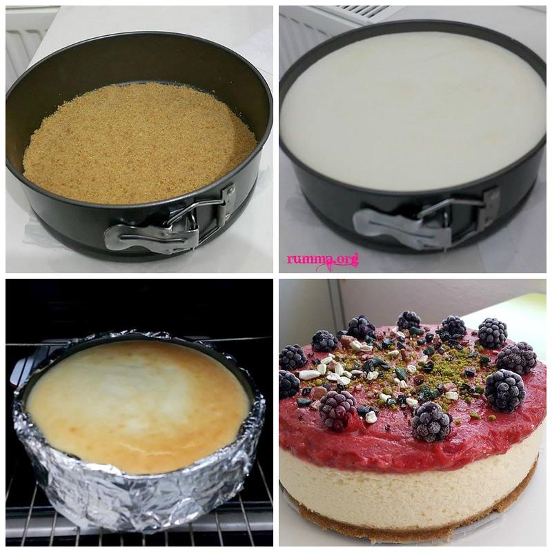 çilekli çiz kek yapımı