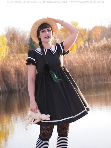 sailor lolita outfit with boater hat by gloomth