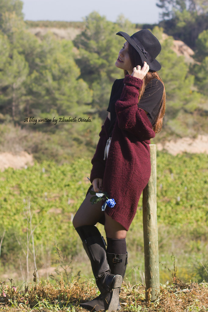 cardigan burgundy sombrero negro HEELSANDROSES look lady v…  0bf45539737