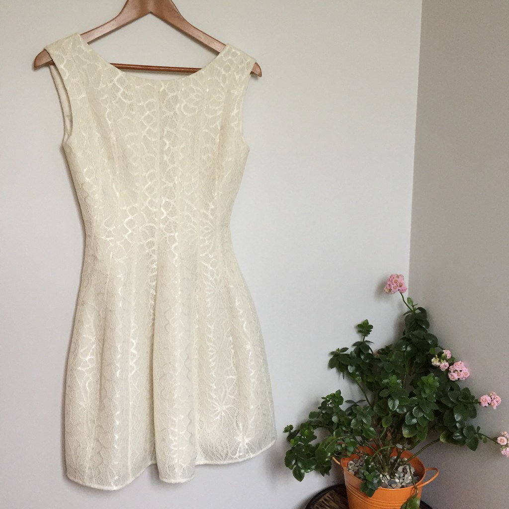white, a-line, 50's style wedding dress