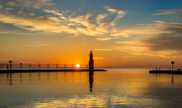 Lighthouse, Harbor, Wisconsin, Lake Michigan, Sunrise, Clouds, Blue