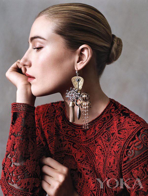 Dree Hemingway wears c e line earring