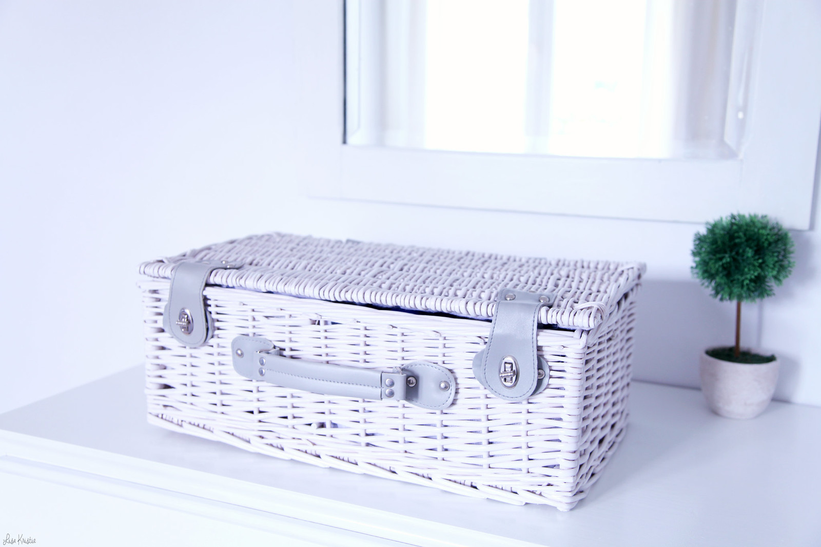 dog picnic basket travel luggage suitcase pet reed wicker woven white pale grey leather beautiful well made details shabby chic