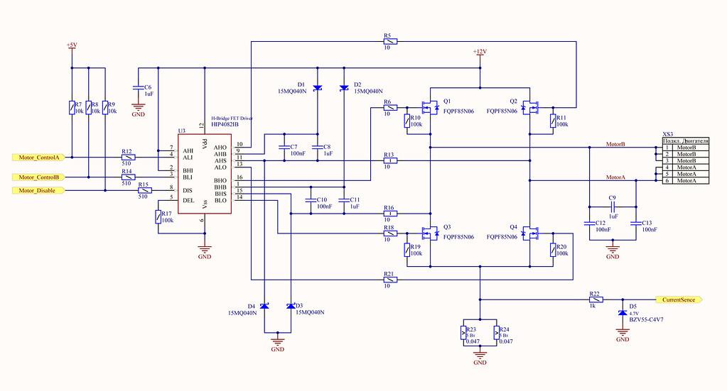 H-мост на Драйвере Intersil HIP4082 (схемотехника подключения)