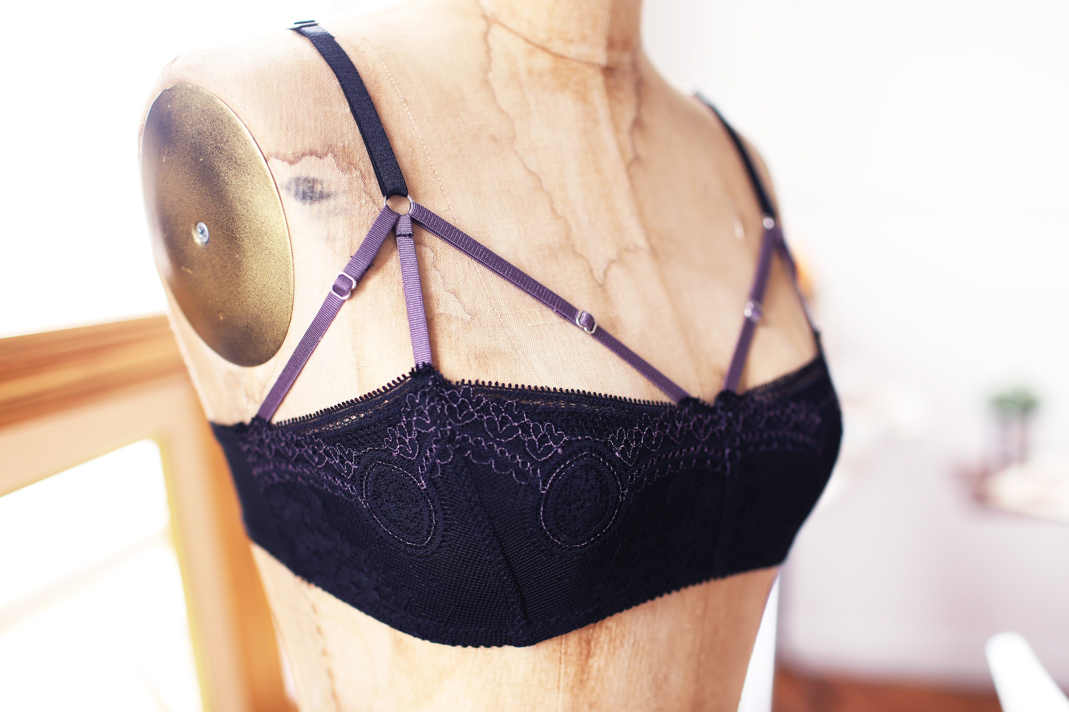 DIY Black Purple Balconette Bralette Bra Making Tailor Made Shop