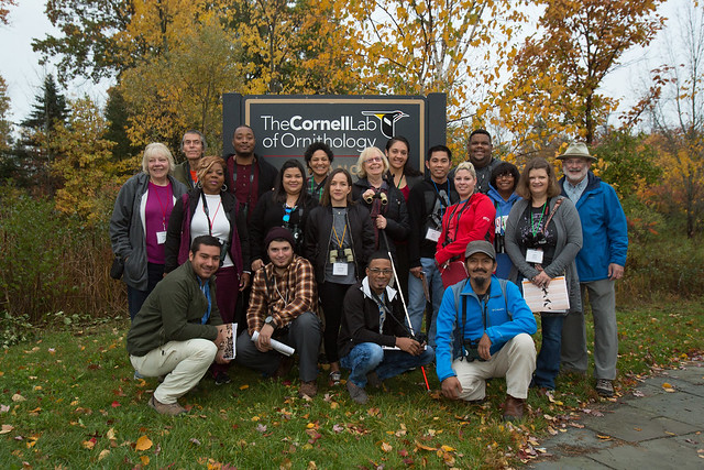 The group poses for a picture during the Celebrate Urban Birds Leaders Workshop held Oct. 18 and 19, 2016 at Cornell Lab of Ornithology in Ithaca. | Photo provided by Marilu Lopez Fretts