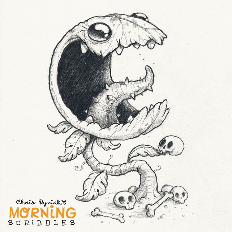 Character Drawings Portraits And Monsters: Carnivorous Plant! 💀🌿 #morningscribbles #halloween #octo