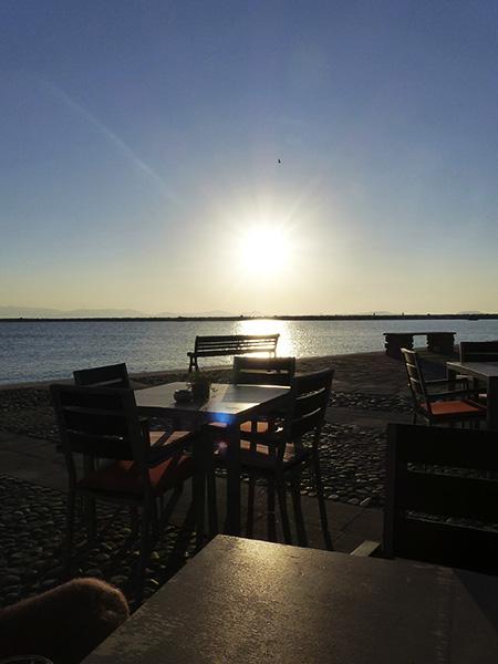 le coucher du soleil à Naxos