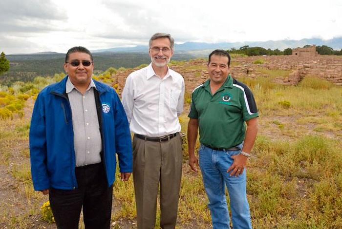 Laboratory Director Charles McMillan, Santa Clara Pueblo Gov. J. Michael Chavarria and Santa Clara Pueblo Lt. Gov. James Naranjo (l to r) at the Puye Cliff Dwellings.