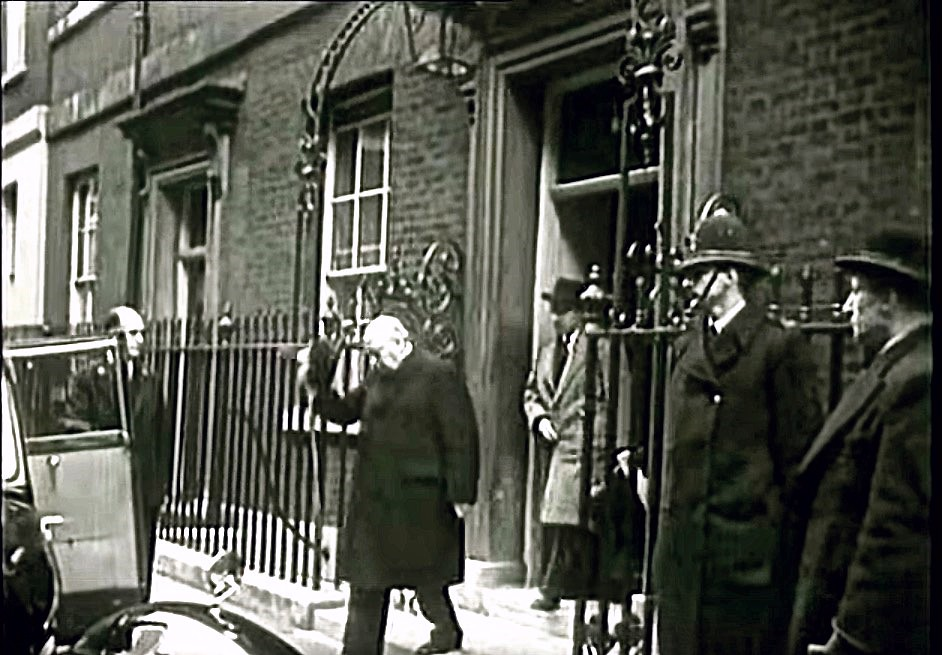 Circa 1952 Winston Churchill Leaves No 10 Downing Street