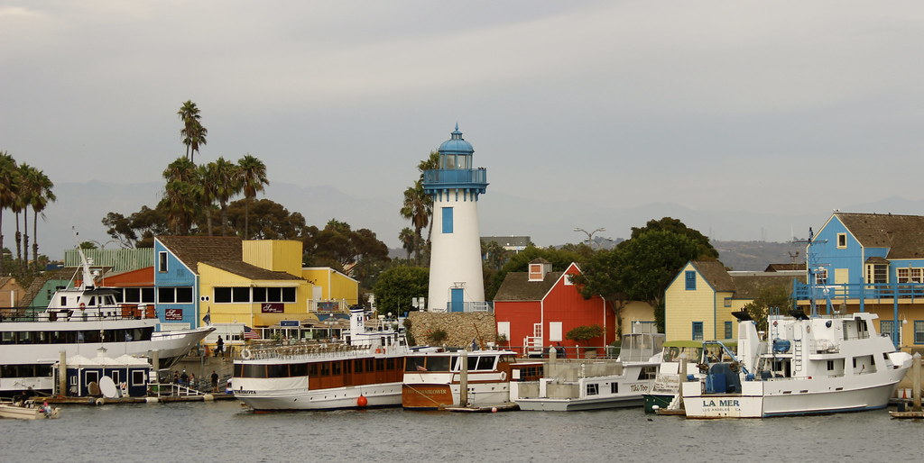 Fisherman 39 s village lighthouse dock and colorful building for Marina del rey fishing report