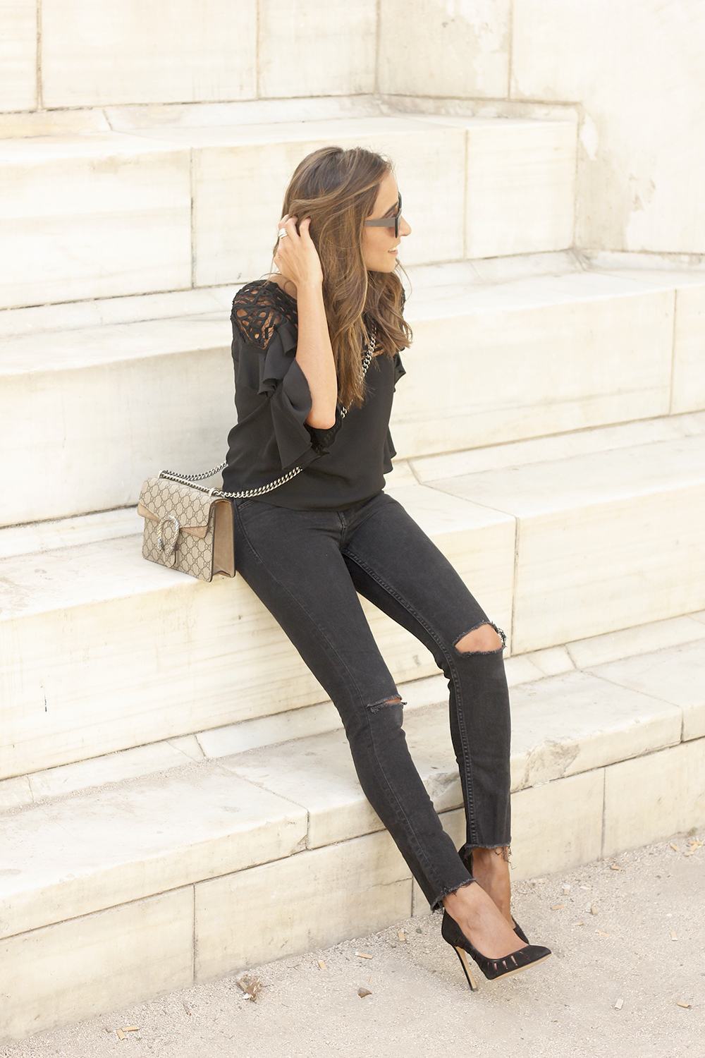 black top black jeans heels gucci bag sunnies outfit fashion style04