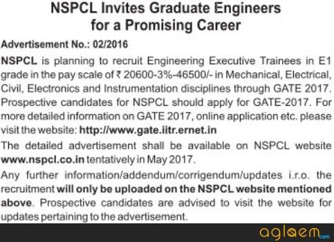 NSPCL Recruitment through GATE 2017