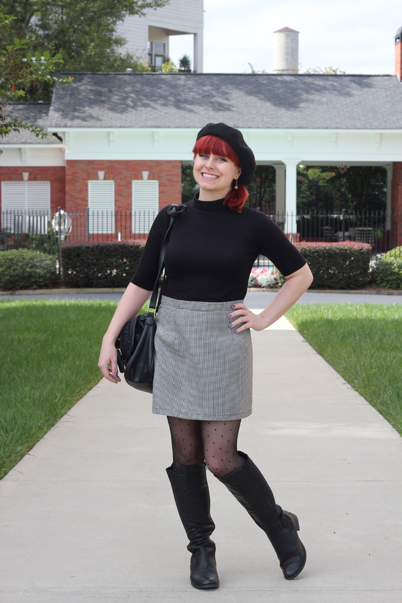 Black Turtleneck, Houndstooth Mini Skirt, Black Beret, Dotted Tights, and Knee High Boots