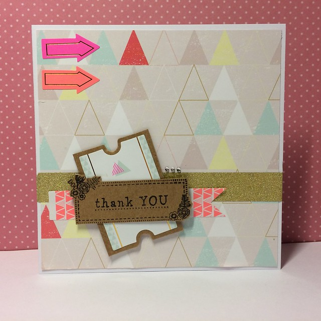 Capsule Geometric Neon thank you card 5x5 by StickerKitten