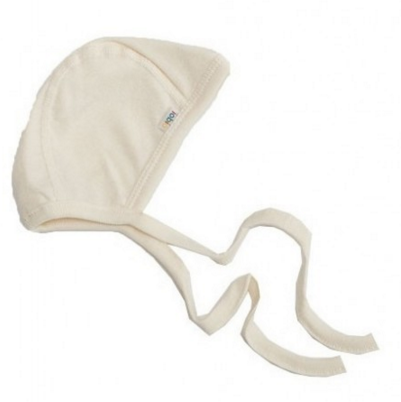 sebio bonnet de naissance newborn hat cotton bio organic cotton off white with strings attach popolini ecru