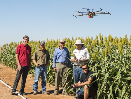 A team of researchers with an unmanned aerial system