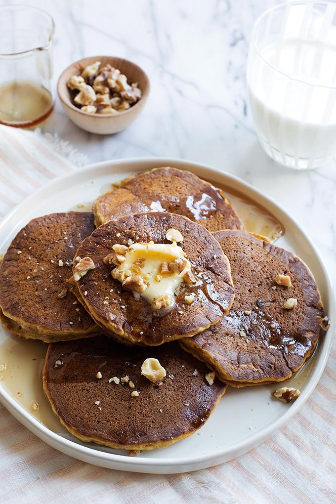 Pumpkin Banana Spice Pancakes