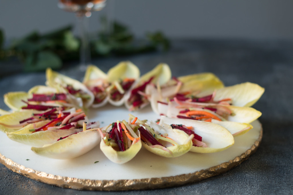 Endive Boats with Beet-Carrot-Fennel in Asian dressing