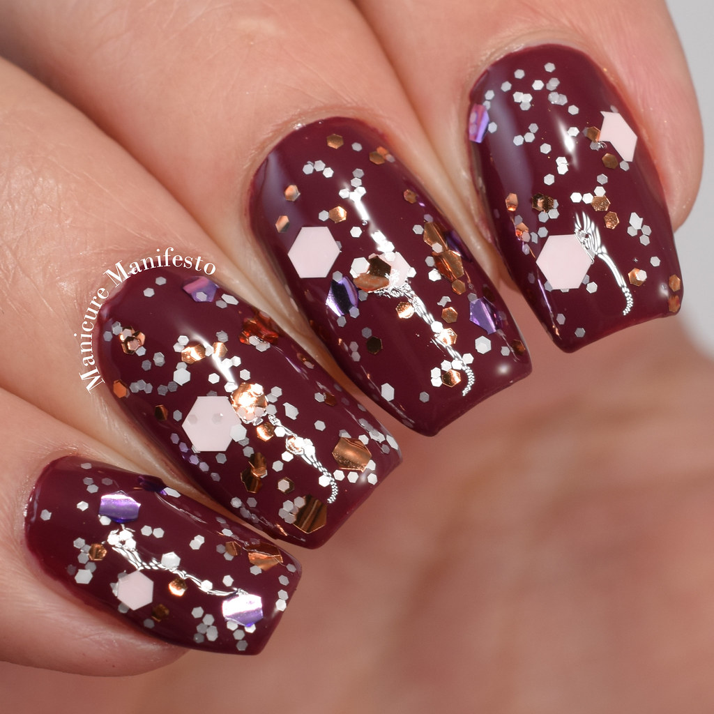 White Copper Pink glitter nail polish