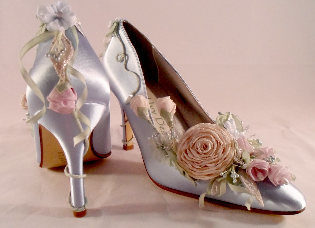 White Wedding Shoes With Gemstone