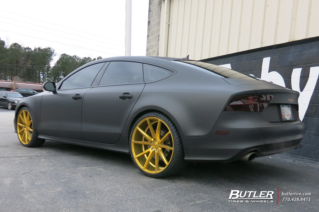 Matte Black Audi A7 With Gold 22in Vossen Vfs1 Wheels Flickr
