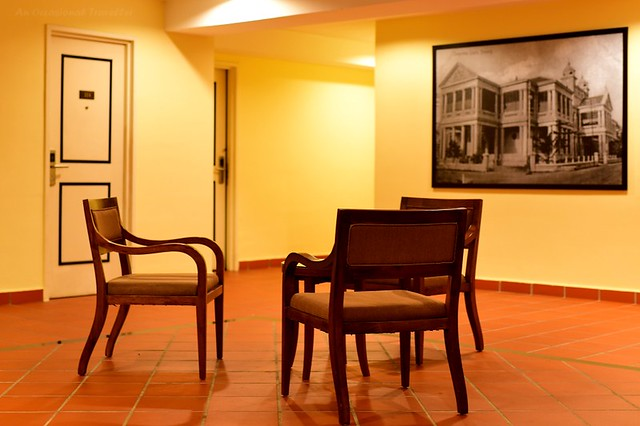 Chairs are placed in the landing on each floor for guests