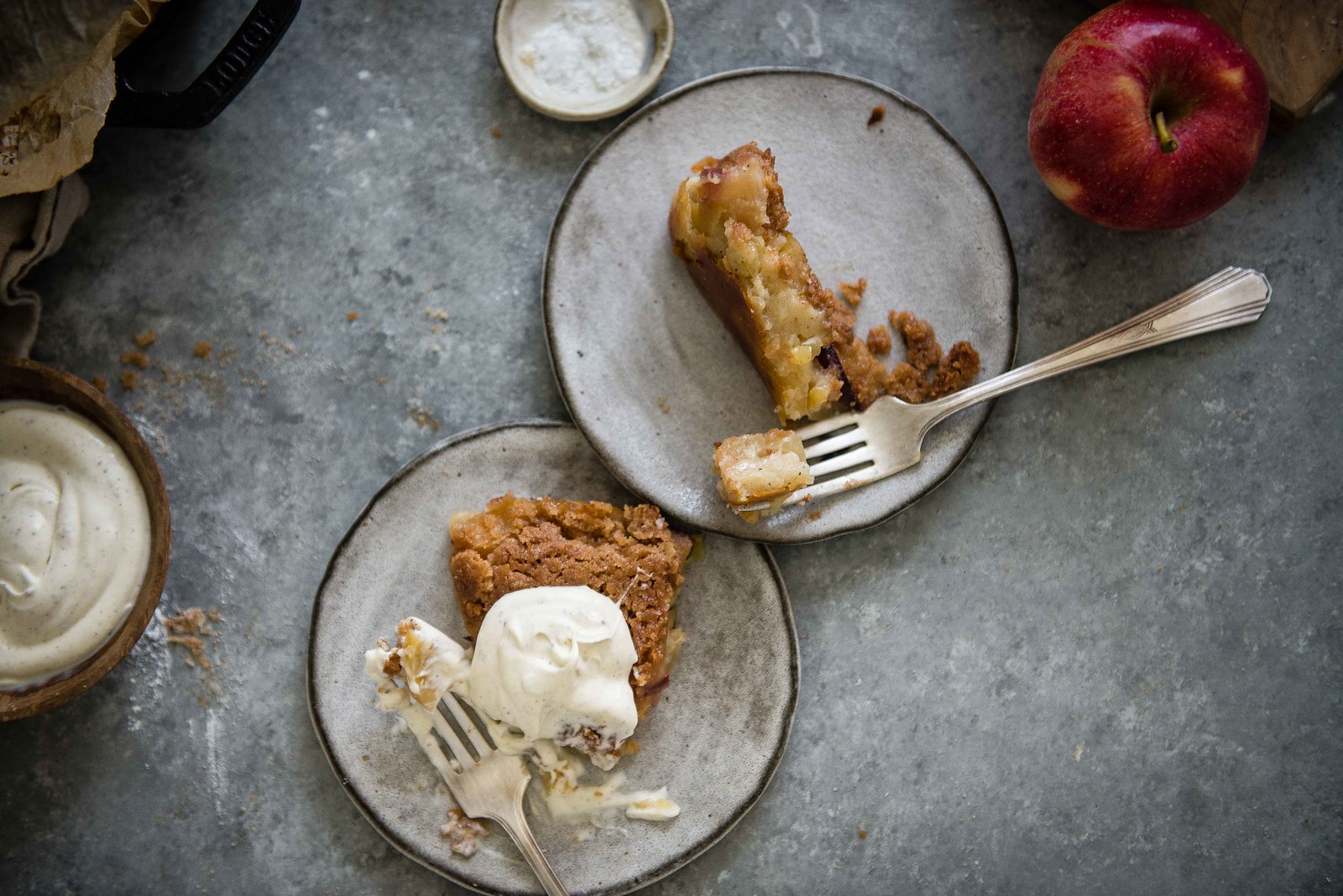 custardy creme fraiche apple pie | two red bowls
