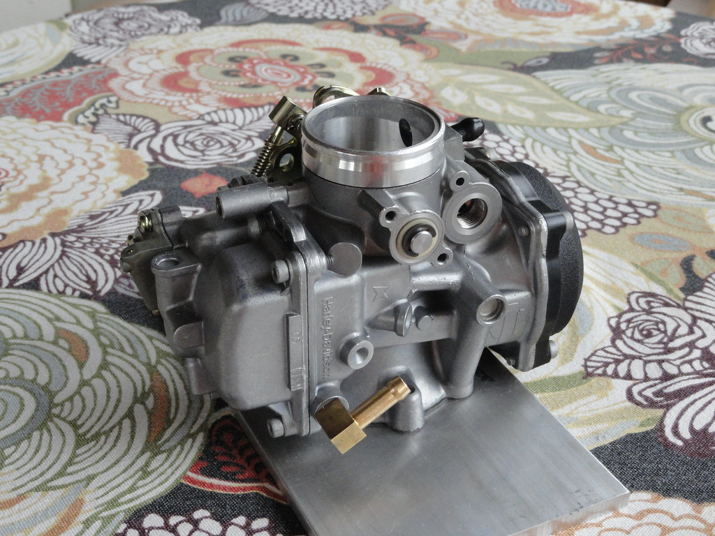 Repurposing The Harley Cv40 Carb Adventure Rider Keihin Carburetor Diagram In Addition Honda Cv On Hole That Ive Already Made Throat You Can See Plug Body Up By Embossed Shield Logo At Top Of