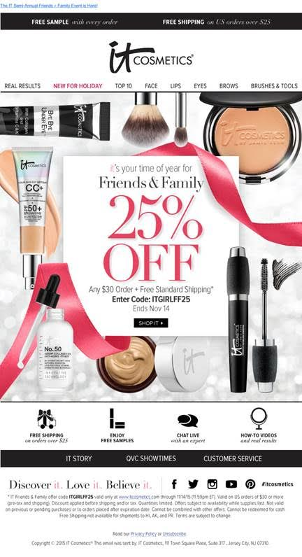 IT Cosmetics' Friends and Family event sale 2015