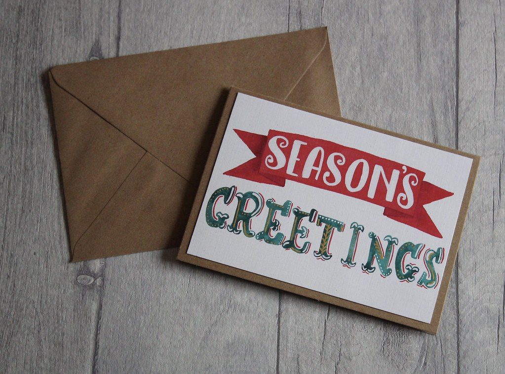 Season's Greetings handmade bespoke Christmas cards etsy