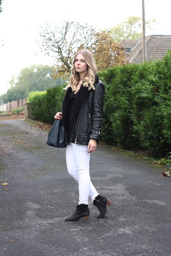 Whistles sheepskin leather jacket, Isabel Marant black ankle boots and Topshop Jamie jeans