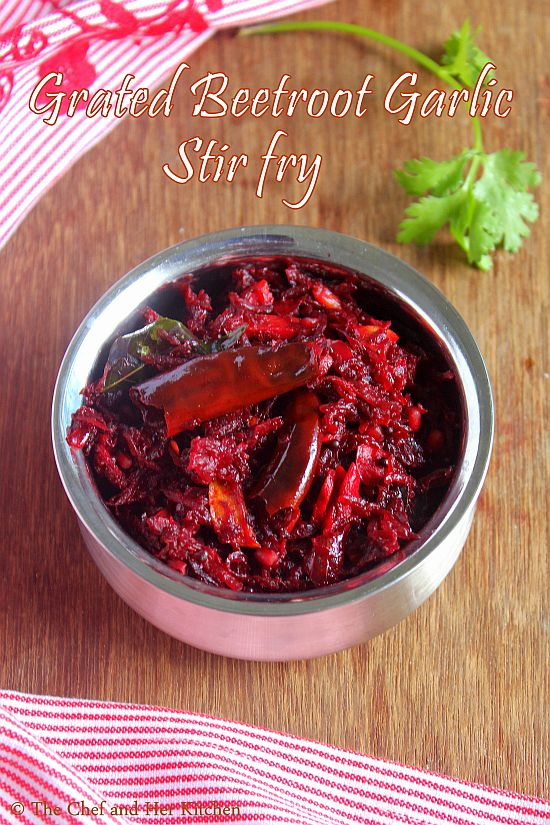 grated beetroot stir fry with garlic